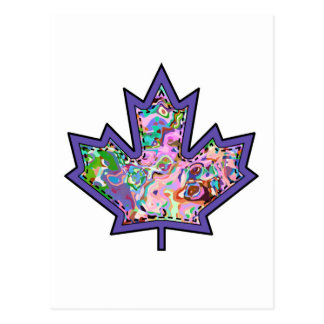 Patterned Applique Stitched Maple Leaf  4 Postcard