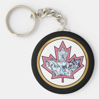 Patterned Applique Stitched Maple Leaf  5 Keychain