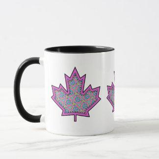 Patterned Applique Stitched Maple Leaf  5 Mug
