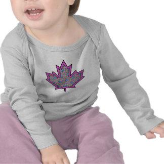 Patterned Applique Stitched Maple Leaf  5 T-shirts