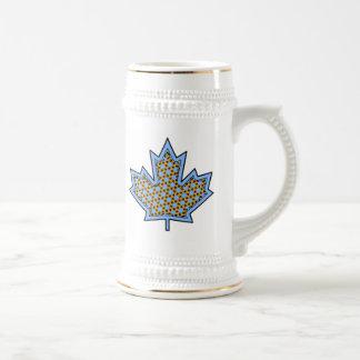 Patterned Applique Stitched Maple Leaf  6 Beer Stein