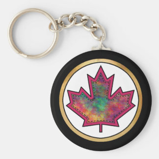 Patterned Applique Stitched Maple Leaf  6 Keychain