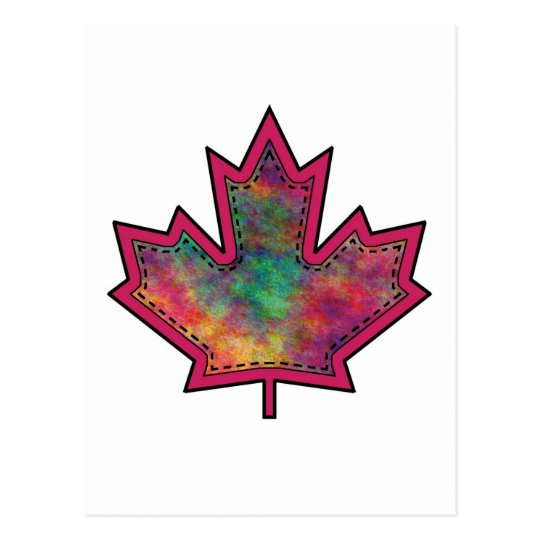 Patterned Applique Stitched Maple Leaf  6 Postcard