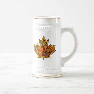 Patterned Applique Stitched Maple Leaf  7 Beer Stein