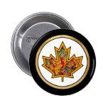 Patterned Applique Stitched Maple Leaf  7 Pinback Buttons