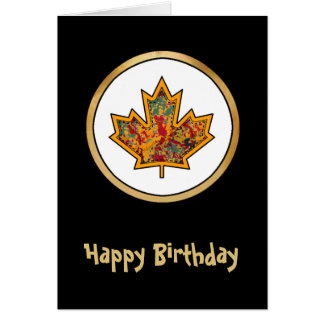 Patterned Applique Stitched Maple Leaf  7 Greeting Card