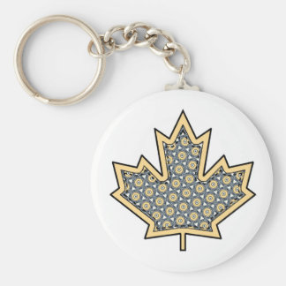 Patterned Applique Stitched Maple Leaf  7 Keychain