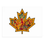 Patterned Applique Stitched Maple Leaf  7 Postcard
