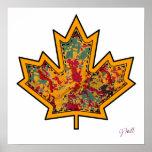 Patterned Applique Stitched Maple Leaf  7 Poster