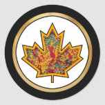 Patterned Applique Stitched Maple Leaf  7 Classic Round Sticker