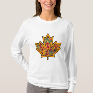Patterned Applique Stitched Maple Leaf  7 T-Shirt