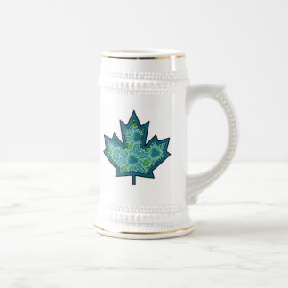 Patterned Applique Stitched Maple Leaf  8 18 Oz Beer Stein