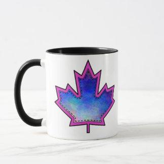 Patterned Applique Stitched Maple Leaf  8 Mug