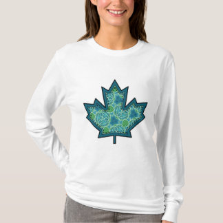 Patterned Applique Stitched Maple Leaf  8 T-Shirt