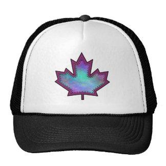 Patterned Applique Stitched Maple Leaf  9 Trucker Hat