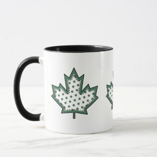 Patterned Applique Stitched Maple Leaf  9 Mug