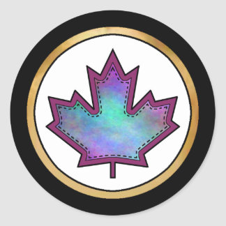 Patterned Applique Stitched Maple Leaf  9 Stickers
