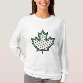 Patterned Applique Stitched Maple Leaf  9 T-Shirt