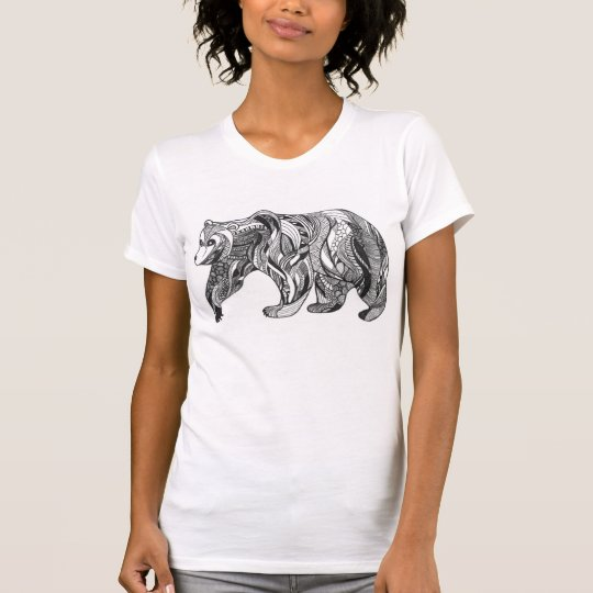 Patterned Bear Design T-Shirt