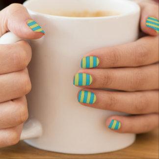 Patterned blue stripes minx nail art