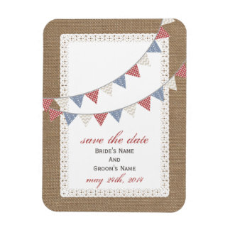 Patterned Bunting Burlap Inspired Save The Date Magnet