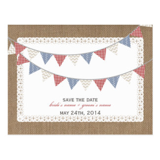 Patterned Bunting Burlap Inspired Save The Date Postcard