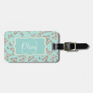 Patterned butterflies teal named luggage tag