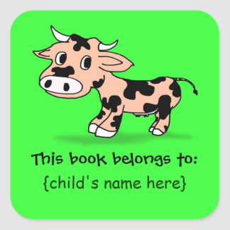 Patterned Cartoon Cow - Book Belongs To Square Sticker