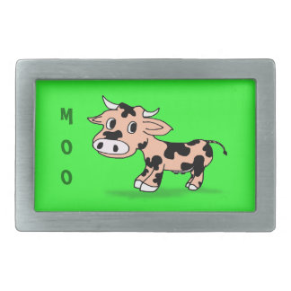 Patterned Cartoon Cow on Green with Moo Belt Buckle