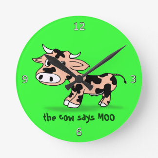 Patterned Cartoon Cow on Green with Moo Round Clock