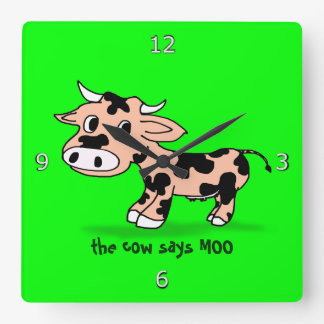 Patterned Cartoon Cow on Green with Moo Square Wall Clock