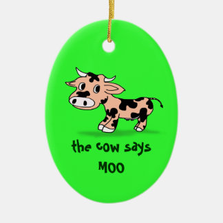Patterned Cartoon Moo Cow on Green Ceramic Ornament