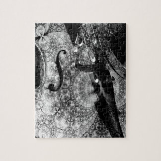 Patterned cello abstract in black and white jigsaw puzzle