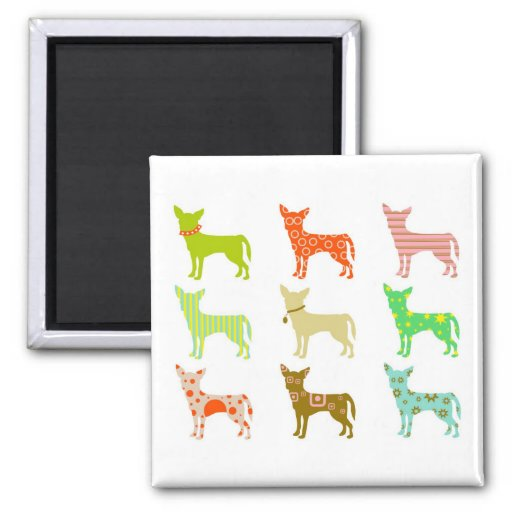 patterned-chihuahuas 2 inch square magnet