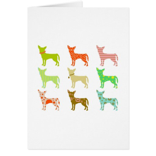 patterned-chihuahuas greeting card