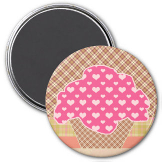 PATTERNED CUPCAKE 3 INCH ROUND MAGNET