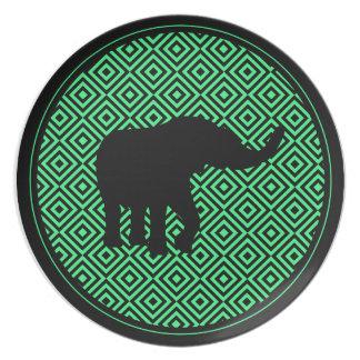 Patterned Decor Dinner Green Ring Elephant Plate