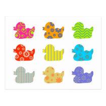 Patterned Ducks Postcard