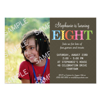 Patterned Eight Birthday Party Invitation
