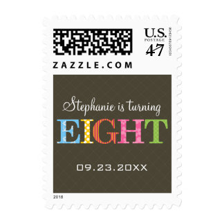 Patterned Eight Birthday Postage