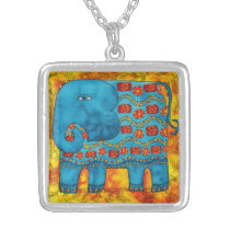 Patterned Elephant Silver Plated Necklace