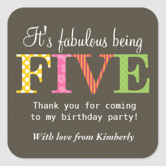 Patterned Five Birthday Party Sticker