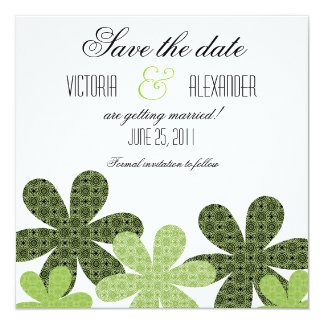 Patterned Flowers Save the Date Invite, Green Card