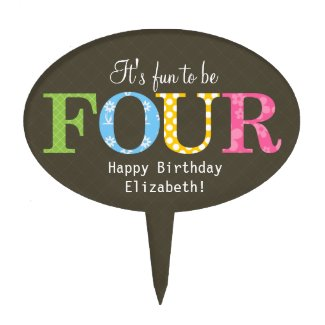 Patterned Four Birthday Party Cake Pick