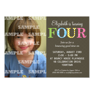 Patterned Four Birthday Party Invitation