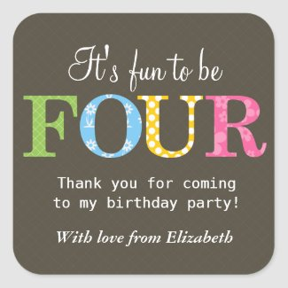 Patterned Four Birthday Party Sticker