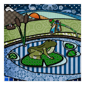 Patterned Frog in a pond Poster