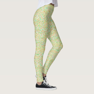Patterned gold, pink, bright green yoga pants