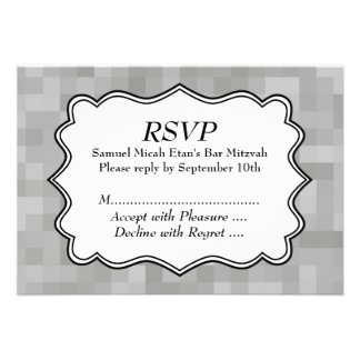 Patterned Gray Black and White Bar Mitzvah Personalized Invite