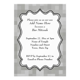 Patterned Gray Black and White Bar Mitzvah Personalized Announcement